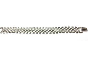 Silver Link Bracelet  , Vintage Silver Napier Bracelet , Signed Napier Designer Bracelet , Silver Tone Track Link Bracelet