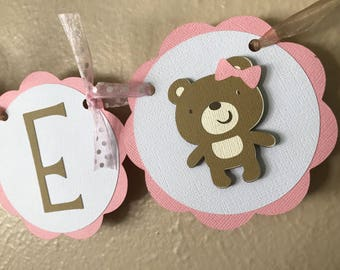 Teddy Bear Party High Chair Banner, Teddy Bear Party Banner, Pink Teddy Bear Banner, Girl Teddy Bear Party, Girl 1st Birthday, Girl Bear
