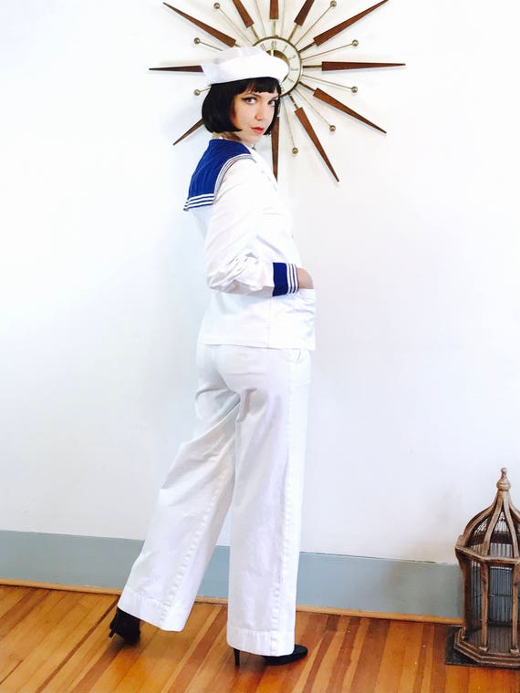 Vintage 1960s Sailor Jacket, white navy blue, 60s sailor jacket, white sailor jacket, nautical short cropped jacket, authentic sailor jacket