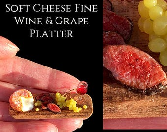 Soft Cheese & Fine Wine Platter - Artisan Handmade Miniature in 12th scale After Dark miniatures.