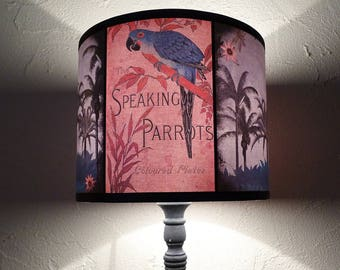 Speaking Parrots tiki tropical lamp shade lampshade - unique light, lighting, accent lampshade, palm trees, palms, pink lamp shade, gift