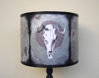 "Animal skull lamp shade lampshade ""Mechanical Animals"" - old west, unique light, lighting, drum lamp shade, home decor, gothic home decor"