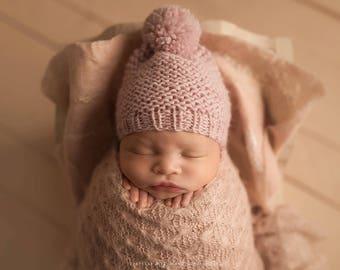 Newborn Hat Girl, Baby Girl Hat, Newborn Photo Prop Girl, Newborn Pom Pom Hat, Knit Newborn Hat, Baby Pom Pom Hat, Newborn Props Girl