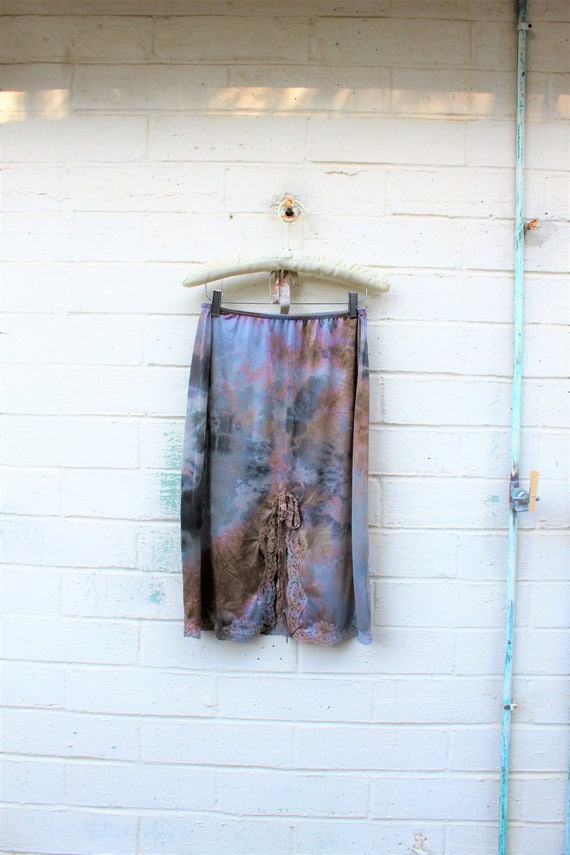 Tie Dye Skirt/Chocolate Rose Vintage Skirt/Upcycled Clothing/Hippie Tie Dye Skirt/Tie Dye Flowing Skirt/Upcycled Clothing/Slip Skirt