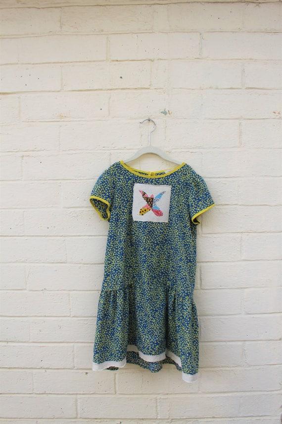 Girls Butterlfy Dress/Hippie Kid/Country Grateful Dead child Dress/Oregon Dress/Green Earth Dress/Earth Day Girl/Butterfly Dress/County Girl