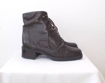 90s grunge boots. brown leather ankle boots. lace up boots. hiking boots - eur 38, uk 5, us 7.5