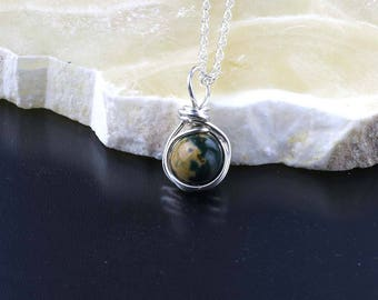 Bloodstone Wire Wrapped Pendant, Bloodstone Necklace, Sterling Silver, Heliotrope Gemstone Necklace, March Birthstone, Unique Markings