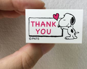 Snoopy Rubber Stamp - Thank You -  Kodomo no Kao Stamp