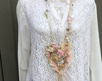 Faith Textile Art Necklace, Handmade Fabric Heart Cross Necklace, Shabby Chic Romantic Pink & Creams, Mixed Media, Wearable Art,Christian