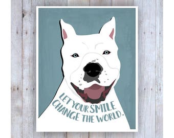 White Pit Bull, Pitbull Art, Pitbull Artwork, Pit Bull Dog, Pitbull Print, Pitbull Poster,Pitbull Rescue, Smile, Dog Art