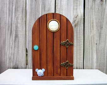 Wooden Fairy Door, Stained, Pretend Play, Fairies, Gift Under 20, Childs Gift, Indoor Fairy Door, Fairy Play, Magical Door, Imaginative Play