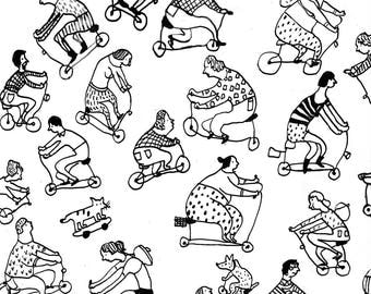 urban bicycle / Group of people on a city bicycle / acrylic Pen drawing / Black and white / Funny characters