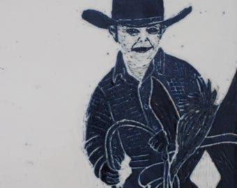 Little Cowboy Art Tile, Sgraffito Carved Tile, Ranch House Decor, Framed Tile Art , Black and White Wall Tile,