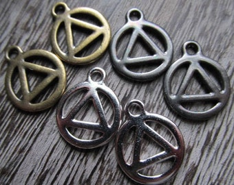 Two or More Recovery Symbol, Recovery Symbol, Alcoholics Anonymous, Pewter Recovery Symbol, Recovery Pendant, Recovery Charm
