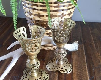 Antique Brass Candleholders