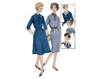 1950s Dress Pattern Slim Dress or Flared Skirt Detachable Collars Contrast Revers Simplicity 2804 Plus Size Bust 42 Vintage Sewing Pattern