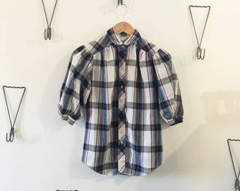 80's Puffy Sleeves Plaid Blouse
