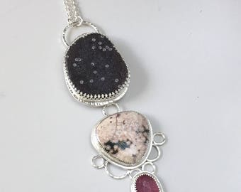 Gemstone Statement Necklace - Pink Sapphire, Ocean Jasper, and Druzy Long Pendant Necklace - Big Chunky Statement Necklace - Sterling Silver
