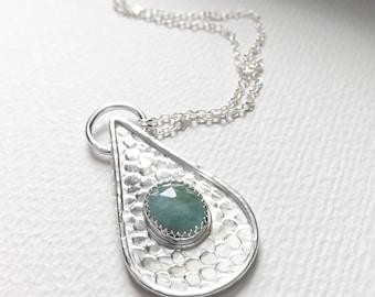 Aquamarine and Sterling Silver Teardrop Pendant Necklace - Aqua Stone Jewelry - March Birthstone Jewelry - Silver Teardrop Necklace