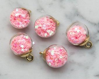 Glass Globe Charm, 5pcs, 17mm,  Glitter Pendant,  Pink Stars -B1021