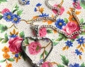 Vintage chintz china, heart pendant necklace, antique Old Cottage Hydrangea chintz, pink floral broken china jewelry, Dishfunctional Designs