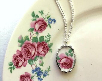 Broken china jewelry petite necklace pendant beautiful pink rose made from antique broken china. recycled china
