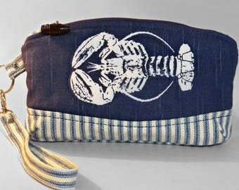 Wristlet nautical themed zippered bag