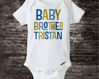 Baby Brother Onesie or Baby Brother Shirt, Personalized Gerber Onesie or Tee Shirt (03172014d)