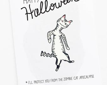 Happy Halloween Greeting Card - Cat Zombie Apocalypse Card - Cat watercolor art with hand-lettering
