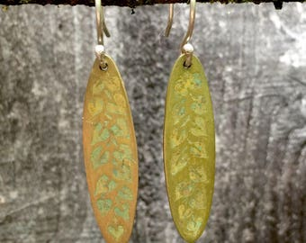 Etched Brass Earrings with Green Patina