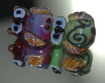 Fledgling Lampwork  Owl Totem Bead : SRA Lorraine Dowdle