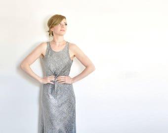 silver tinsel 1990s dress . metallic sparkle floor length maxi gown .small.medium