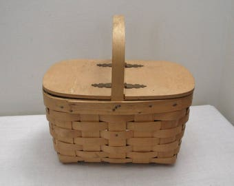Vintage Woven Wood Basket Individual Lunch Size or Purse Size - Sewing Basket