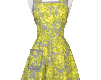 Stella 50s Style Retro Apron . Lime Green Gray Floral Womans Vintage Old Fashioned Cute Full Coverage Kitchen Apron with Pockets (CS)