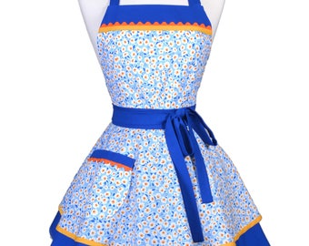 Womens Ruffled Retro Apron / Cute Sky Blue Yellow Floral Womans Vintage Style Pinup Kitchen Apron Ideal to Personalize or Monogram (FM)