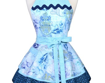 Womens Ruffled Retro Apron with Pocket in Blue Flower Burst Vintage Kitchen Gift for Her with Personalized Monogram Option (DP)