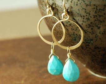 Turquoise Gold Hoop Earrings, December Birthstone Gemstone Dangle Earrings, Boho Turquoise Earrings