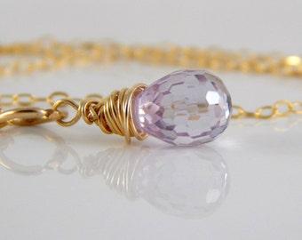 Lilac Cubic Zirconium Charm ~ Purple Stone Charm ~ Add a Charm ~ Add a Dangle ~ Purple Dangle - AdoniaJewelry
