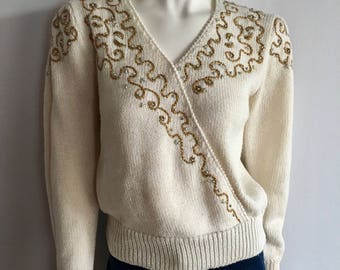 Vintage Women's 90's Beaded Sweater, Cream, Gold, Long Sleeve by Jaclyn Smith (M)