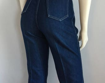 Vintage Women's 70's Nightrider Jeans, High Waisted, Straight Leg, Dark Wash (M)