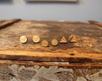 Geometric Wood Earrings - Small Stud Earrings