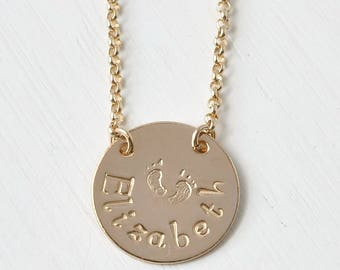 Personalized New Mom Gift Necklace with Baby's Name and Footprints in Gold Fill