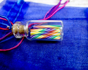 Rainbow Candy Jar Necklace - Cherry Rainbow Swirl Candy Sticks - Miniature Bottle Jewelry