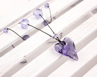 Tanzanite Crystal Heart Necklace, Swarovski Wild Heart Pendant, Black Silk
