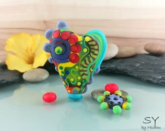 Flower Power - lampwork bead Set - etched for a satin finish made by me Michou P. Anderson - Brand/Label: Sonic & Yoko