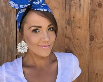 Detroit Lions Dolly Bow Headband || Reversible Pinup Rockabilly Dolly Bow Twist Headscarf Hair Band Head Wrap Accessories