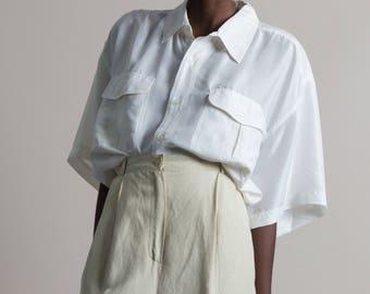 Vintage 80s White Washed Silk Short Sleeve Oversized Blouse