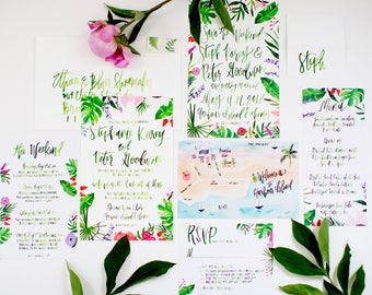 Tropical Foliage Inspired Wedding - Watercolor Illustrations & Hand Lettering - Wedding Invitation Suite  - Customizable