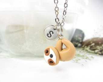 Sloth necklace, sloth jewelry, Initial necklace, personalized necklace, cute unique gift, best friend gift, sloth gifts, polymer clay, cute