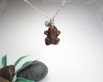 Chocolate Frog Necklace, food jewelry, food necklace, chocolate necklace, frog necklace, initial necklace, personalized gift necklace, charm